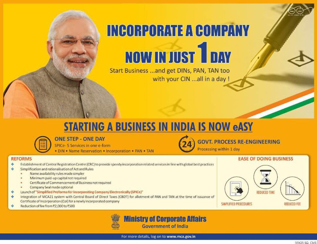 Incorporate company in India in one day